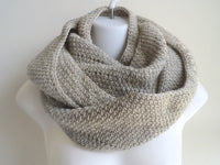 Oatmeal Pure Wool Infinity Scarf - Smitten Kitten Originals Knits - 2