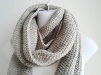 Oatmeal Pure Wool Infinity Scarf - Smitten Kitten Originals Knits - 3