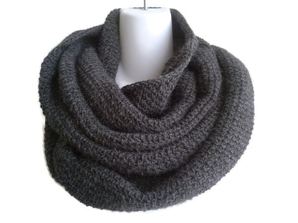 Charcoal Grey Pure Alpaca Infinity Scarf - Smitten Kitten Originals Knits - 1