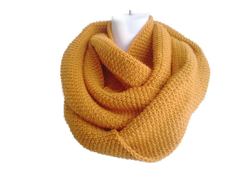 Mustard Yellow Pure Wool Infinity Scarf - Smitten Kitten Originals Knits - 1