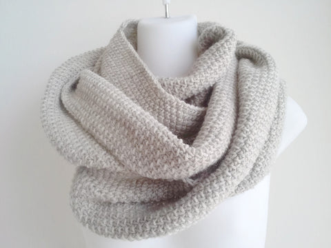Oatmeal Pure Wool Infinity Scarf - Smitten Kitten Originals Knits - 1