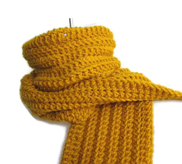 Pure Wool Mustard Yellow Scarf - Smitten Kitten Originals Knits - 1