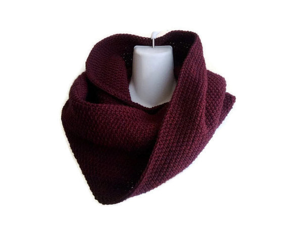 Burgundy Cowl Wool Neckwarmer Maroon Made to Order - Smitten Kitten Originals Knits - 1