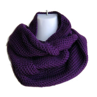 Eggplant Purple Infinity Scarf Made to Order - Smitten Kitten Originals Knits - 1