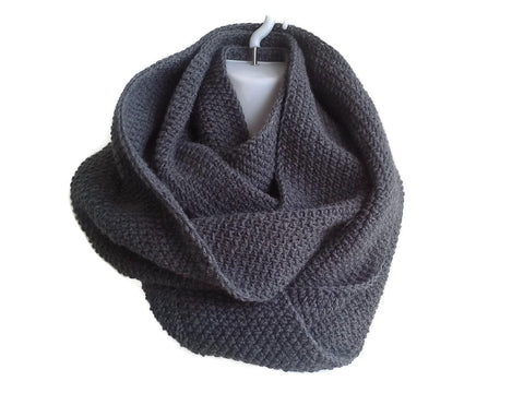 Charcoal Grey Infinity Scarf Slate Gray Neckwarmer - Smitten Kitten Originals Knits - 1