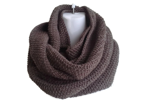 Dark Walnut Brown Pure Wool Infinity Scarf - Smitten Kitten Originals Knits - 1