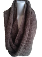 Dark Walnut Brown Pure Wool Infinity Scarf - Smitten Kitten Originals Knits - 2