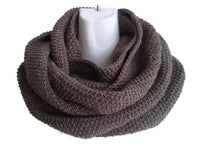 Dark Walnut Brown Pure Wool Infinity Scarf - Smitten Kitten Originals Knits - 3