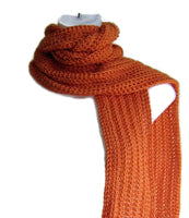 Orange Crochet Winter Scarf - Smitten Kitten Originals Knits - 3