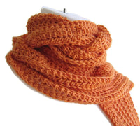 Orange Crochet Winter Scarf - Smitten Kitten Originals Knits - 1