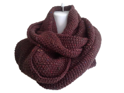 Brown Tweed Wool Infinity Scarf - Smitten Kitten Originals Knits - 1