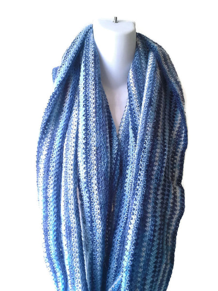 Blue White Wool Mohair Infinity Scarf - Smitten Kitten Originals Knits - 1