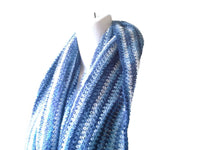 Blue White Wool Mohair Infinity Scarf - Smitten Kitten Originals Knits - 2