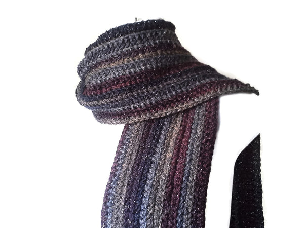 Black Charcoal Grey Stripe Scarf - Smitten Kitten Originals Knits - 1