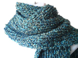 Chunky Knit Scarf in Blue Green Yellow Multi - Smitten Kitten Originals Knits - 4
