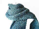 Chunky Knit Scarf in Blue Green Yellow Multi - Smitten Kitten Originals Knits - 1