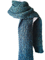 Chunky Knit Scarf in Blue Green Yellow Multi - Smitten Kitten Originals Knits - 3