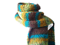 Knit Scarf Green Brown Blue Yellow Ombre Stripe - Smitten Kitten Originals Knits - 3