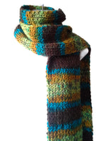 Knit Scarf Green Brown Blue Yellow Ombre Stripe - Smitten Kitten Originals Knits - 4