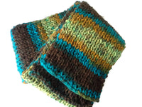Knit Scarf Green Brown Blue Yellow Ombre Stripe - Smitten Kitten Originals Knits - 5