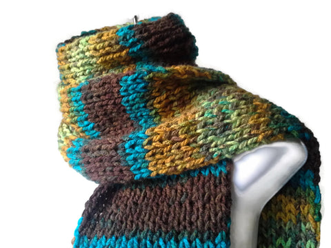Knit Scarf Green Brown Blue Yellow Ombre Stripe