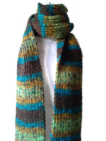 Knit Scarf Green Brown Blue Yellow Ombre Stripe - Smitten Kitten Originals Knits - 2