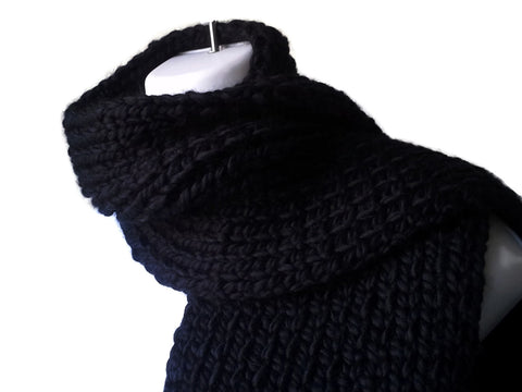 Chunky Black Rib Knit Scarf - Smitten Kitten Originals Knits - 1