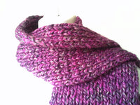 Chunky Purple Heather Knit Scarf - Smitten Kitten Originals Knits - 3