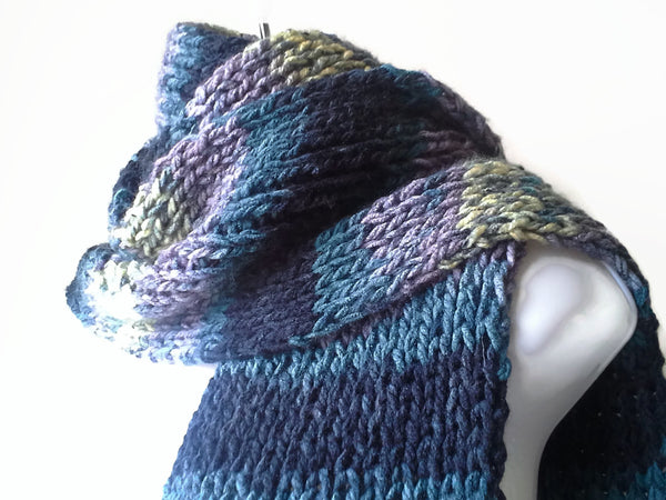 Blue Grey Black Yellow Vegan Knit Scarf - Smitten Kitten Originals Knits - 1
