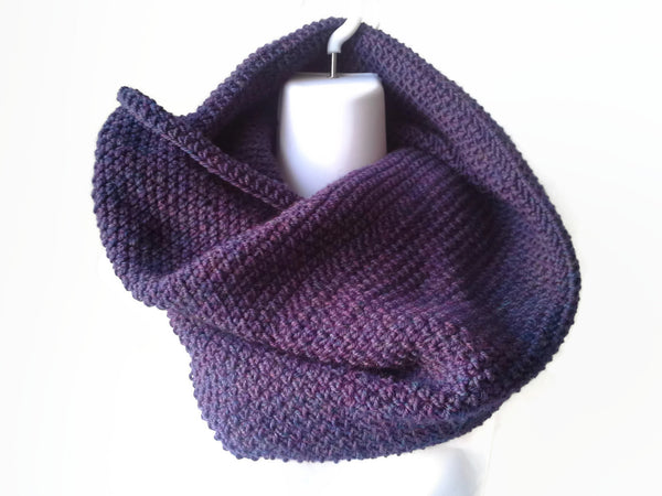 Purple Aubergine Pure Wool Cowl Neckwarmer Made to Order - Smitten Kitten Originals Knits - 1