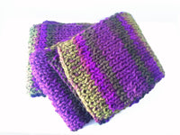 Rib Knit Classic Stripe Scarf Purple Green Ombre - Smitten Kitten Originals Knits - 4