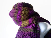 Rib Knit Classic Stripe Scarf Purple Green Ombre - Smitten Kitten Originals Knits - 1