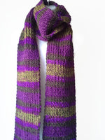 Rib Knit Classic Stripe Scarf Purple Green Ombre - Smitten Kitten Originals Knits - 2