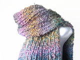 Chunky Soft Knit Scarf in Blue Purple Green Yellow Ombre - Smitten Kitten Originals Knits - 4