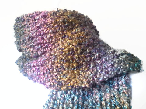 Chunky Soft Knit Scarf in Blue Purple Green Yellow Ombre - Smitten Kitten Originals Knits - 1