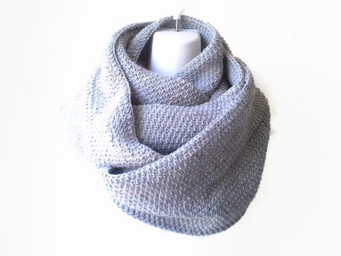 Grey Heather Wool Blend Infinity Scarf - Smitten Kitten Originals Knits - 1