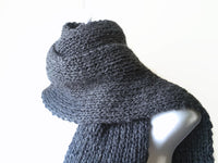 Charcoal Grey Knit Scarf - Smitten Kitten Originals Knits - 2