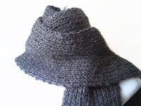 Charcoal Grey Knit Scarf - Smitten Kitten Originals Knits - 1