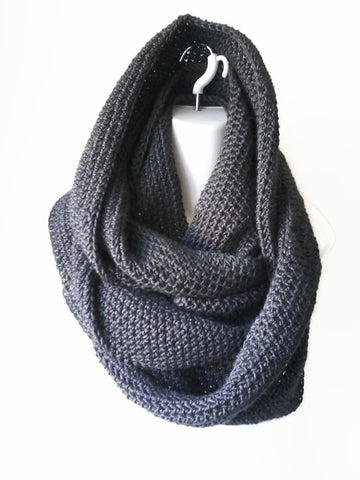 Charcoal Grey Vegan Infinity Scarf - Smitten Kitten Originals Knits - 1
