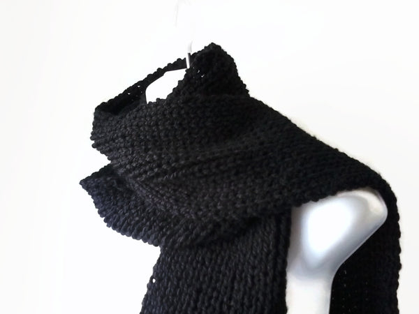 Hand Knit Basic Black Scarf - Smitten Kitten Originals Knits - 1