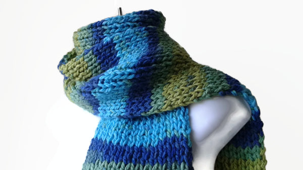Rib Knit Classic Scarf Blue Green Yellow Ombre Stripe Scarf - Smitten Kitten Originals Knits - 1