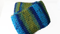 Rib Knit Classic Scarf Blue Green Yellow Ombre Stripe Scarf - Smitten Kitten Originals Knits - 4