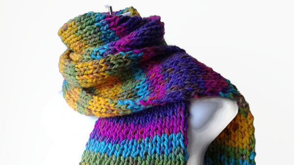 Rainbow Stripe Knit Scarf Pink Green Blue Yellow - Smitten Kitten Originals Knits - 1