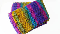 Rainbow Stripe Knit Scarf Pink Green Blue Yellow - Smitten Kitten Originals Knits - 4