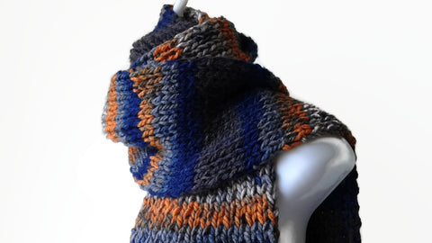 Blue Grey Orange Stripe Rib Knit Scarf Vegan - Smitten Kitten Originals Knits - 1
