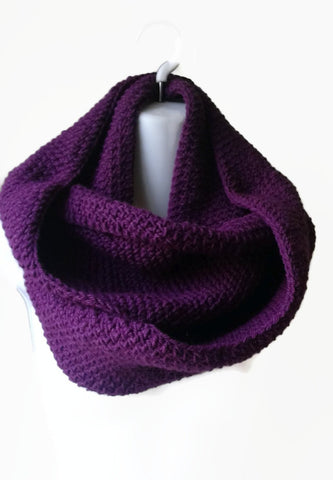 Purple Wool Blend Circle Scarf - Smitten Kitten Originals Knits - 1