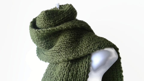 Avocado Green Hand Knit Scarf - Smitten Kitten Originals Knits - 1