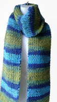 Rib Knit Classic Scarf Blue Green Yellow Ombre Stripe Scarf - Smitten Kitten Originals Knits - 3