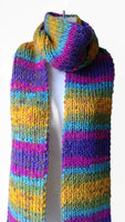 Rainbow Stripe Knit Scarf Pink Green Blue Yellow - Smitten Kitten Originals Knits - 3