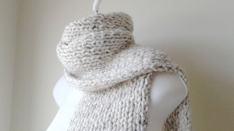 Rib Knit Oatmeal Heather Scarf - Smitten Kitten Originals Knits - 1
